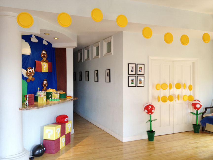 Party time a super mario birthday celebrate the big small for Mario decorations